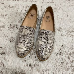 Faux leather snakeskin loafers